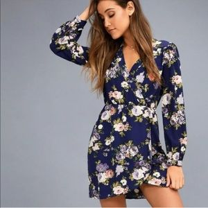 Lulus Thats a Wrap Blue Floral Long Sleeve Dress